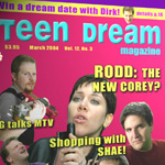 Teenybopper gossip magazine cover as the splash page for a band's fan forum