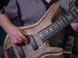 Carvin Vanquish V59K custom five-string bass (black limba over white limba)