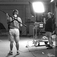 Shooting one of the background plates for Charlie's dual-role fight scene.
