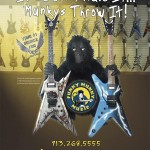 Full-page ad in Guitar Player magazine. Client supplied amateur pics of their display walls (which I stitched and perspective-corrected) and the monkey, which had to be separated from its original background.
