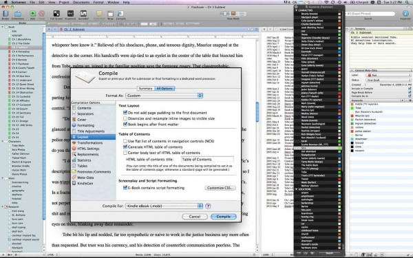 Scrivener interface: chapters, e-book exporter, organizational panes