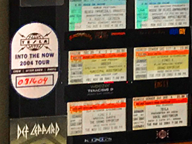 an incomplete collection of concert tickets, autographs, and celebrity encounters