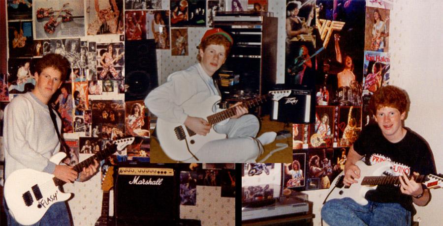 photo of teenager's room wallpapered with Van Halen posters
