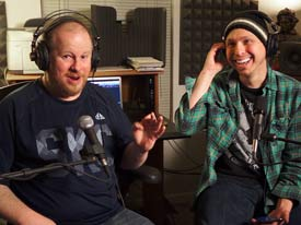 Gordon Highland and Caleb J Ross recording Important Question? Podcast
