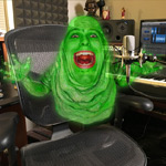 Promoting a podcast episode about ghostbusting (my co-host morphed with Slimer)