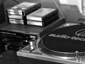 Analog gear: refurbished Claricon 8-track player, AT-LP120 turntable, Pioneer cassette player/recorder
