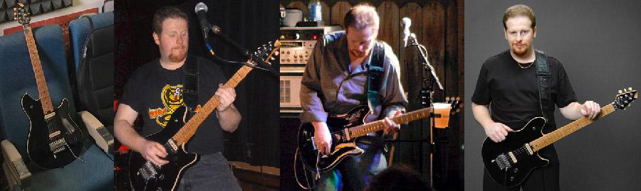 photo collage of Peavey EVH Wolfgang guitars